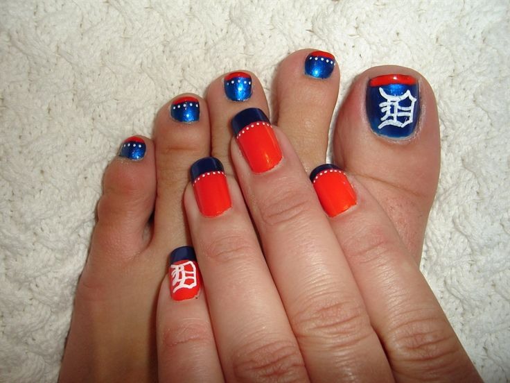 Detroit Tigers nail art!Tigers Basebal Nails, Nails Art, Style, Nails Design, Beautiful, Sports, The Games, Hair, Detroit Tigers Nails