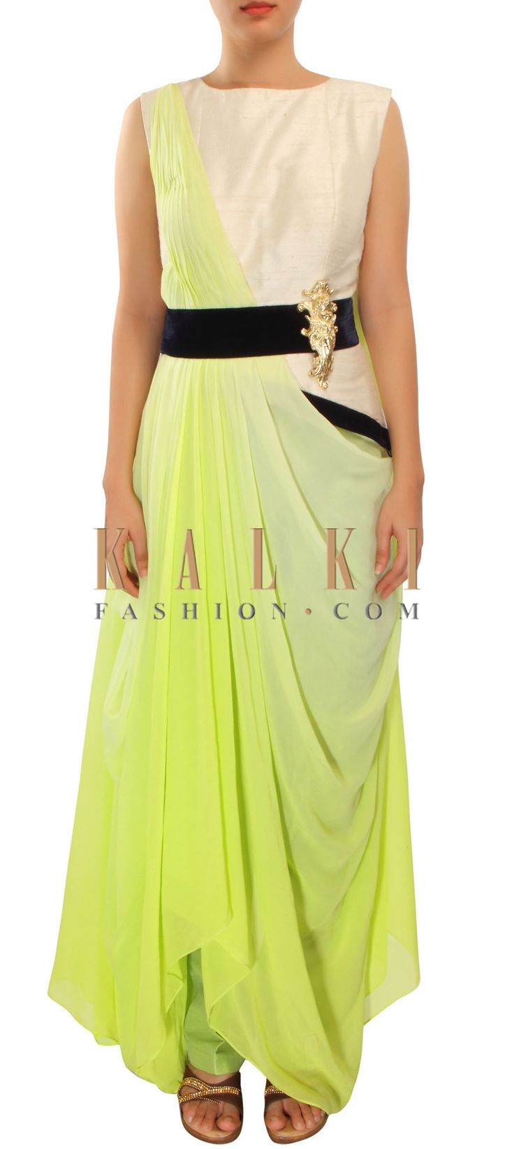 Buy Online from the link below. We ship worldwide (Free Shipping over US$100) http://www.kalkifashion.com/omber-green-suit-enhanced-in-pleats-and-cowl-drape-only-on-kalki.html