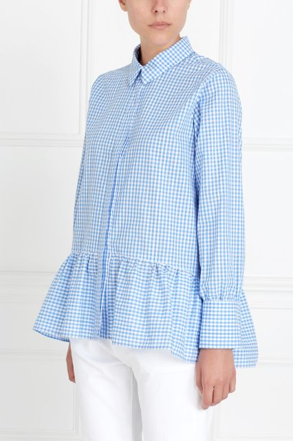 Блузка в клетку Mixer - Отличная блузка для повседневных образов – модель в бело-голубую мелкую клетку из коллекции молодого российского бренда Mixer сделана из натурального тонкого хлопка в интернет-магазине модной дизайнерской и брендовой одежды