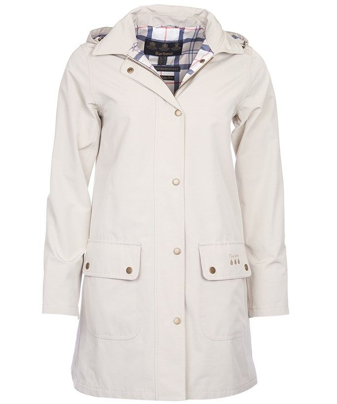 Stay dry in style this season and beyond with the Women's Barbour Gustnado Waterproof Jacket, offering you a Derby mac inspired waterproof jacket which has been designed for Barbour's Weather Comfort range. The Barbour Weather Comfort range offers you a range of waterproof and breathable jackets you are sure to love, standing by 'the driest spot on the Earth is inside a Barbour waterproof.' The patch pocket has been finished with rain drop and Barbour embroidery, as well as rain drop prints…
