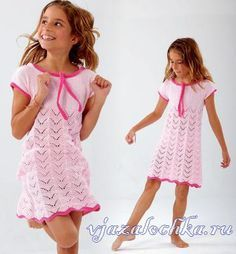 Розовый сарафан для девочки спицами