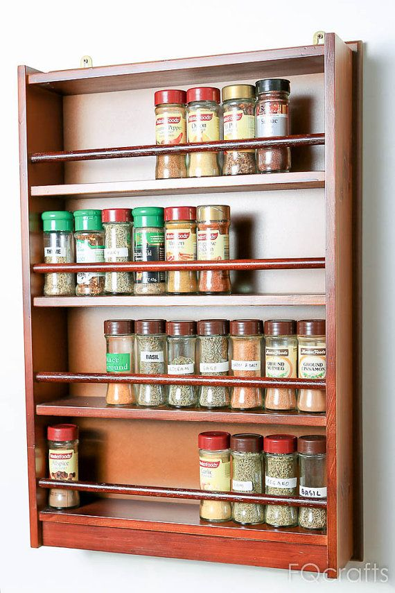 Wooden Spice Rack Four Tiers Wooden guard 72 40g by fqcrafts