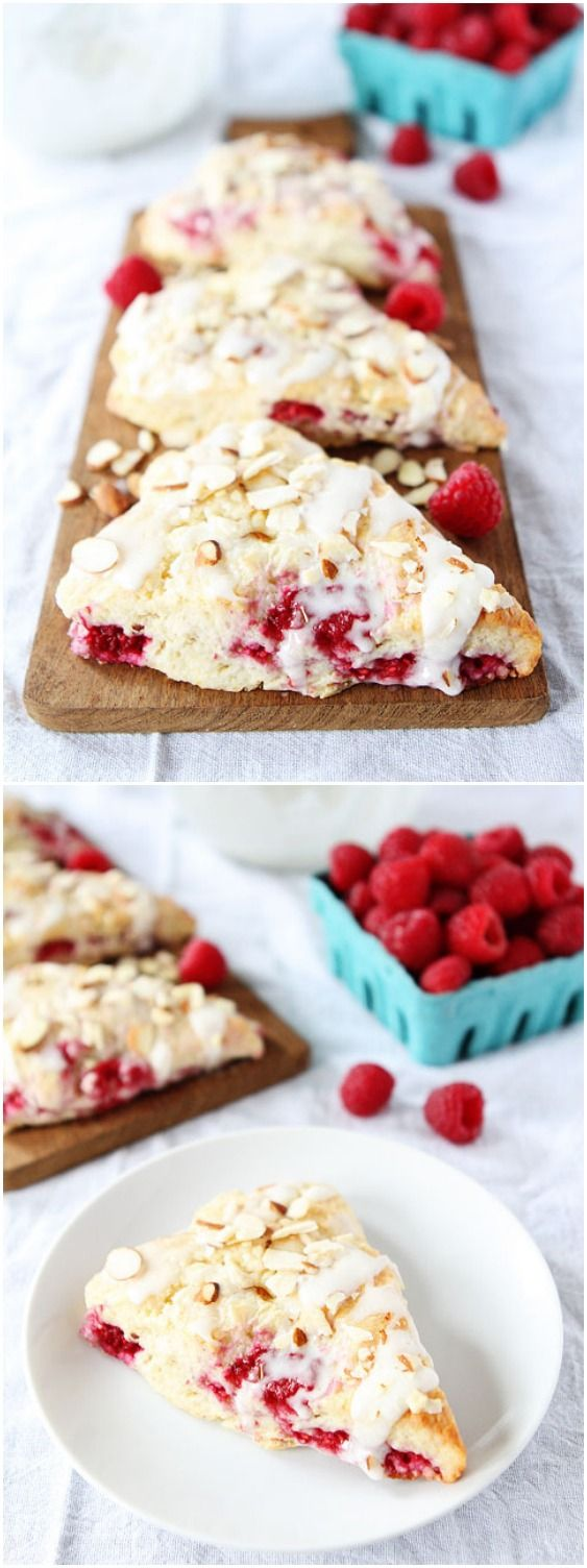 Raspberry Almond Scone Recipe on twopeasandtheirpod.com These scones are amazing! Perfect for breakfast or brunch!