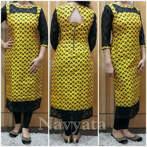 Printed silk kurti with jacquard sleeves