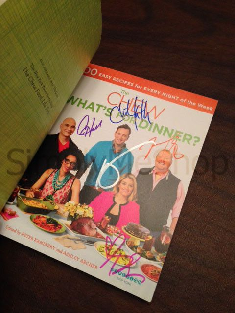 Auction ends today Sun, Nov 17th at 11 am PST / Noon MT / 1pm CST/ 2 pm EST! The Chew - What's for Dinner? Cookbook - Signed  by all 5 hosts!