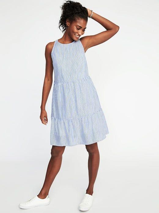d23fc6902 Sleeveless Striped Tiered Swing Dress for Women | Bam's Summer ...