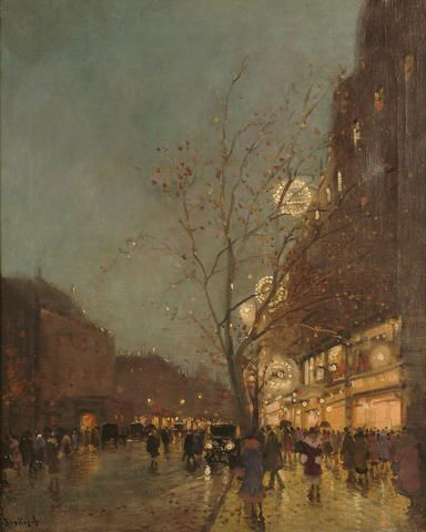 Antal Berkes (Hungarian, 1874-1938) Paris at night