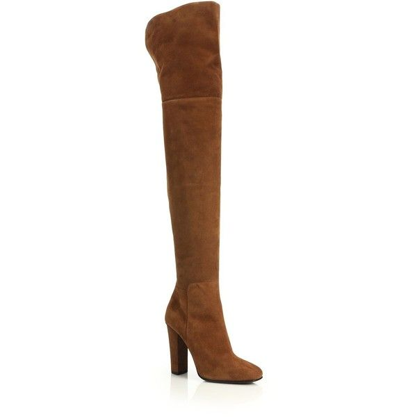 Giuseppe Zanotti Suede Over-The Knee Split-Back Boots ($1,665) ❤ liked on Polyvore featuring shoes, boots, apparel & accessories, brown, slim calf boots, over the knee suede boots, brown square toe boots, leather and suede boots and over-knee boots