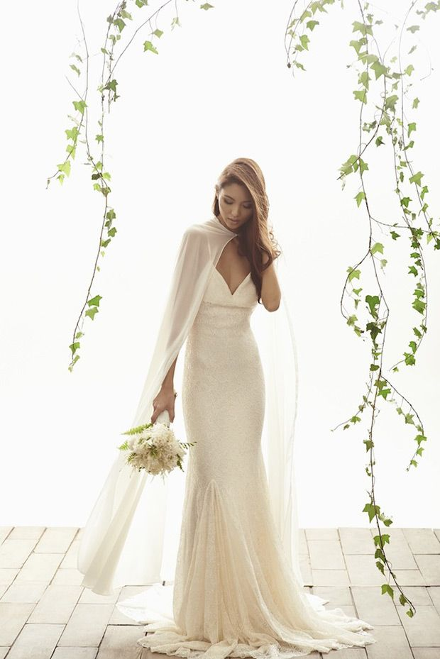 Kate wedding dress from Vania Romoff Bridal wedding dresses 2015 - graceful full length silk wedding dress with sheer cape - see the rest of the collection on www.onefabday.com:
