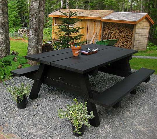chalkboard paint on the the top of a picnic table....also really wanting that woodshed in the background!