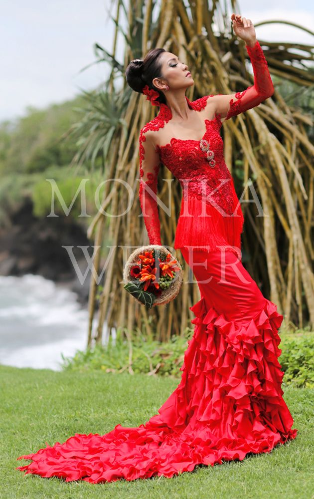 Red Kebaya with tussle by fashion designer Monika Weber, Bali - Indonesia