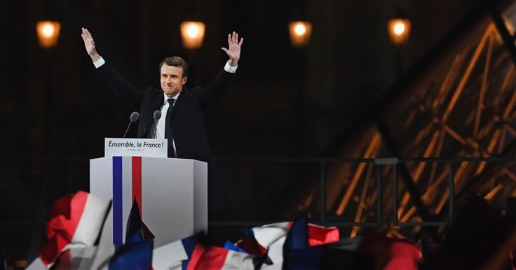 Macron Snubs French National Anthem, Walks Out to EU Song after Win  France has committed suicide electing this guy.