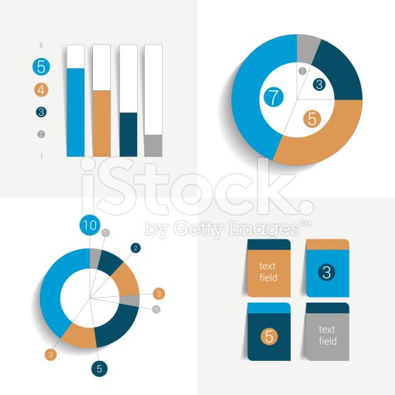 Flat set of charts and brochure elements. Simply color editable. royalty-free stock vector art