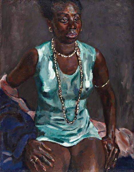 Jan Sluijters - Afrikaanse vrouw in groene hemdjurk met halsketting ca. 1925 olieverf / doek, 90 x 69 cm