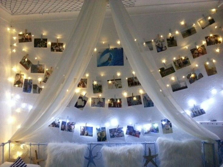teenage girls beach surf bedroom photo wall fairy lights