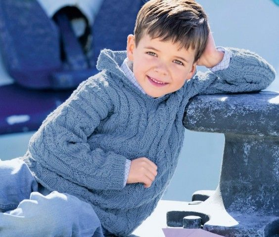 Детский джемпер с капюшоном и рельефными «косами»