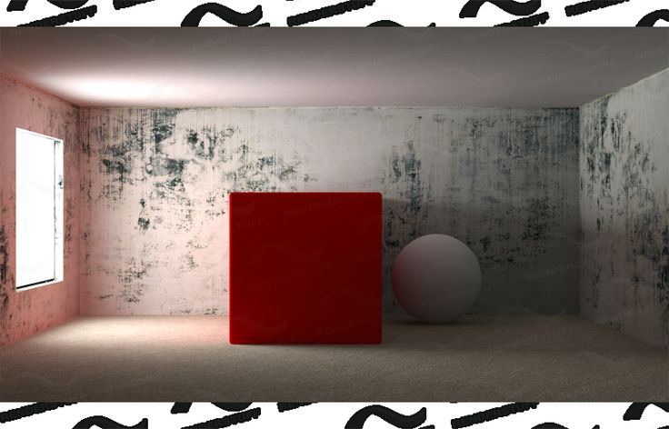 color bledding 3ds max vray red cube red scene