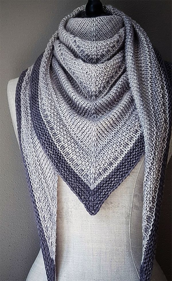 Knitting Pattern for Simply Shawl – Rows of simple stitches, beautifully arrange…