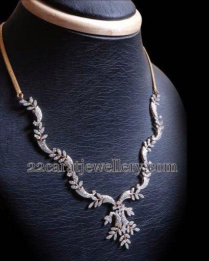 Jewellery Designs: Leafy Patterned Diamond Necklace