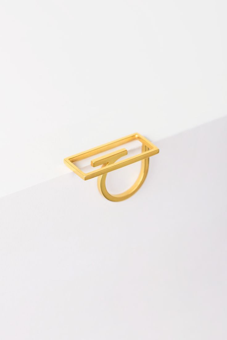 Minimalist Architectural Jewelry - Reectangle Ring in 18K Gold Plated Sterling Silver by MOPHT Studio