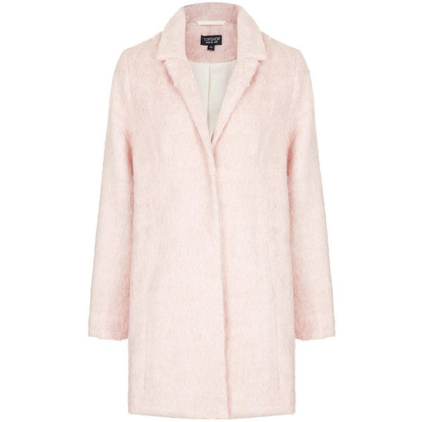 TOPSHOP Fluffy Swing Coat ($90) ❤ liked on Polyvore featuring outerwear, coats, jackets, topshop, coats & jackets, pale pink, boyfriend coat, pale pink coat, pink boyfriend coat and trapeze coat