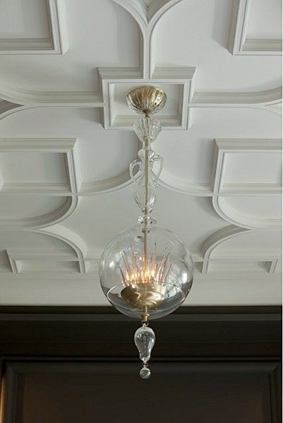 """Amazing ceiling detail - Baker Furniture """"Christal"""" Pendant designed by the late André Arbus"""