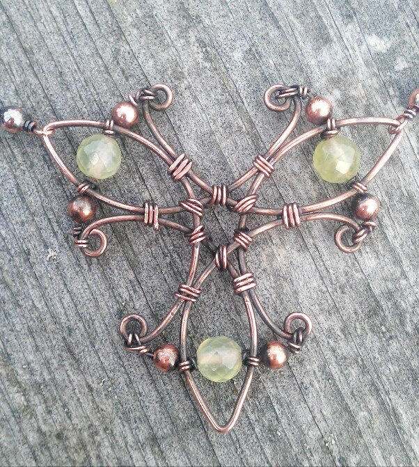 Wire Wrapped 3-Blade Propeller Copper Necklace with Prehnite Beads and Ball Chain. $35.00, via Etsy.