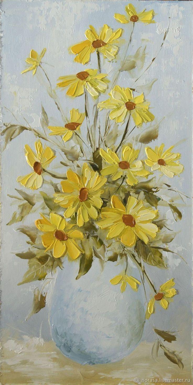 I love this vase of cute fresh yellow flowers painting! #OilPaintingFlowers