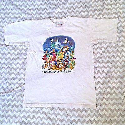 Disney Store Shirt Dreaming Is Believing Character White Size Medium Juniors B1  | eBay