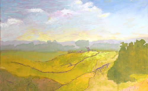 Hillside from my Dreams oil, woodcut and collograph, 20in x 30in