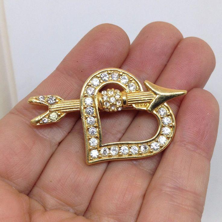 Vintage Signed SWAROVSKI SWAN HEART & ARROW BROOCH PIN Clear Crystal Gold Tone #Swarovski #Vintage