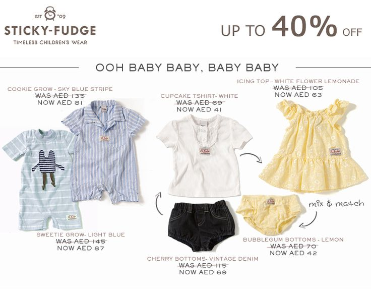 Oooh baby baby, baby baby!  Check out some beautiful baby items on sale through Sticky Fudge - mix and match leggings, shorts and t-shirts and put little adventurers in adorable rompers. When matched into sets, these items make wonderful gifts for little boys and girls alike.