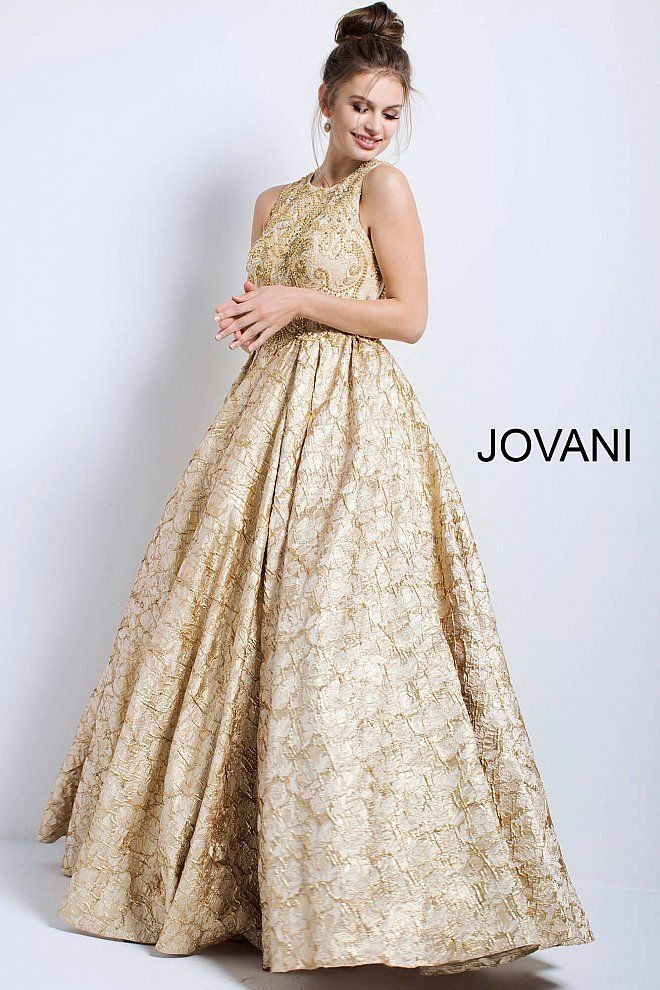 beeb17f4f80c Gold Embellished High Neck Sleeveless Evening Gown 53213 in 2019 | Metallic  Dresses 2018 - Silver & Gold | Dresses, Gowns, Prom dresses