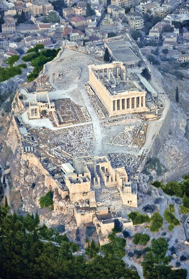The Acropolis, seen from above. I remember several professors diagramming the layout of the temples as an undergrad, realizing that there was far greater and more complex order in the layout of all the pieces than I could have imagined.