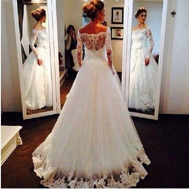 Photos Of Dresses Awesome Off Shoulder Wedding Dresses With Long Sleeves Lace Bridal Gowns Tulle Princess Vintage Wedding Gown 2016 Abiti Da Sposa Mature Wedding Dresses From Adminonline, $229.31| Dhgate.Com