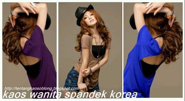 Kaos oblong, kaos couple, kaos batik, kaos wanita spandex Korea.