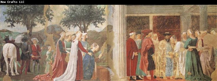 The discovery of the True Cross and the Meeting of Solomon and the Queen of Sheba. Fresco. After 1572.