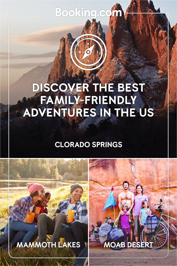 Set off on your family adventure with Booking.com. Whether you're looking to hike the trails of Colorado Springs, hit the powder of California's Mammoth Lakes ski resort or conquer the bike trails of Utah's iconic Moab desert, Booking.com has a huge selection of extraordinary family-friendly destinations.