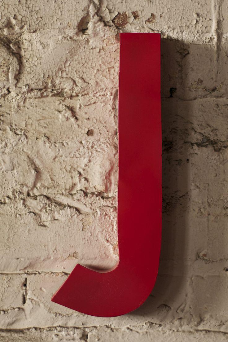 Avalisa letter upper case t stretched wall art - Red Metal Letter J