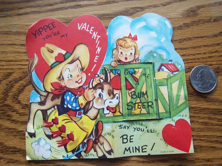 Vtg Valentine Card Cowboy Girl Calf Wrestling Don't Give Me Bum Steer Say You'll