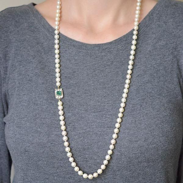 Art Deco Pearl Necklace with 18kt Diamond & Emerald Clasp