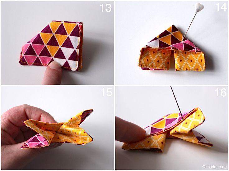 Origami Schmetterling aus Stoff Naehanleitung Stoffreste modage 8