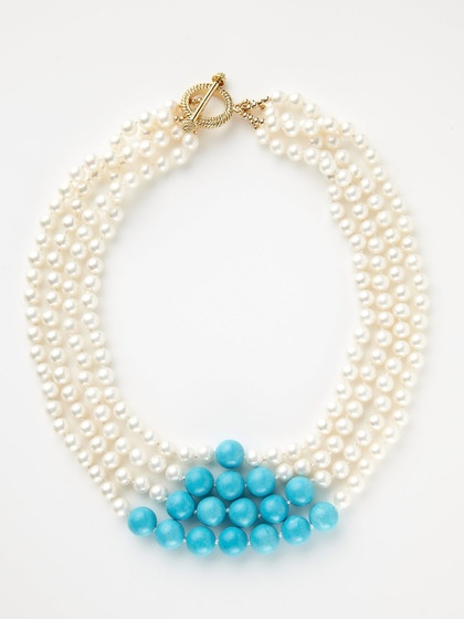 Gotta love this!! Pearl & Turquoise Multi-Strand Necklace