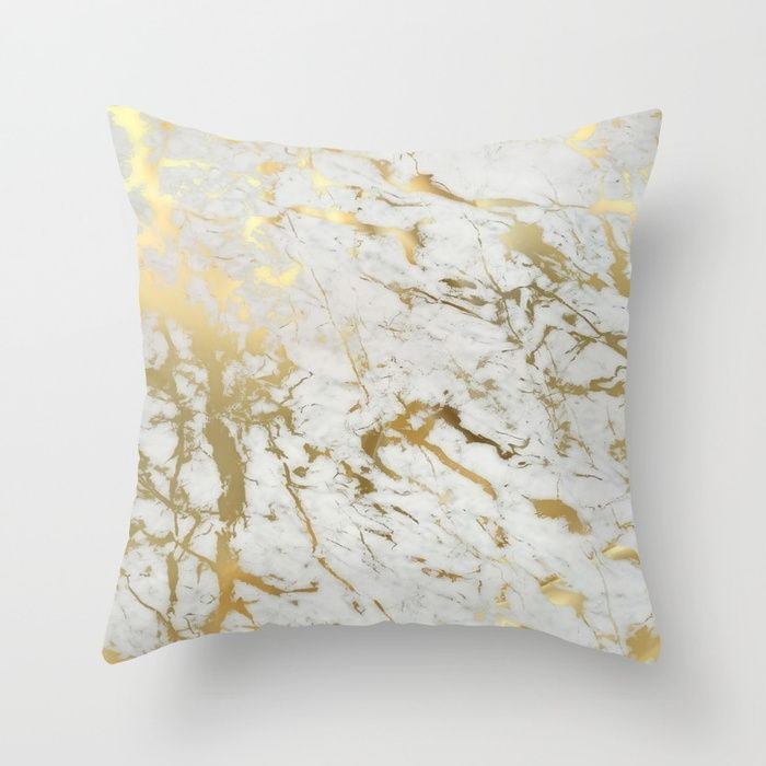 Gold marble Throw Pillow 💕💕 pillows  Cute and kawaii designs on pillows  for teens, girls and kids. Find decorative pillows for bedroom, with sayings or beautiful designs. #design #decor #society6 #cute #kawaii #pillow #pillows #sboar #lovely #interior #home #bedroom #bedroomdecor #animals #pets #wild #flower #floorpillow #floor #mermaid