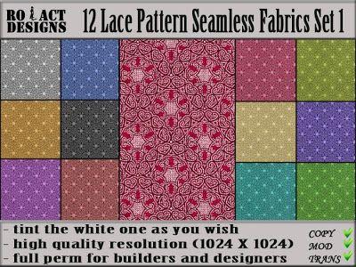 Ro!Act Designs 12 Lace Pattern Seamless Fabrics Set 1
