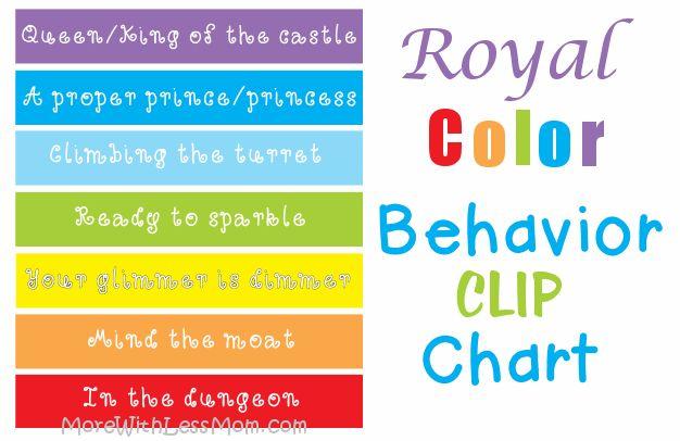 Royal Rainbow Color Behavior Clip Chart Free Printable