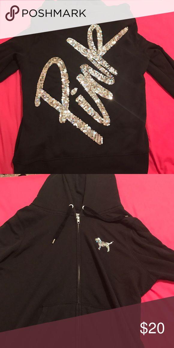 PINK zip up hoodie sparkly zip up jacket from PINK PINK Victoria's Secret Jackets & Coats