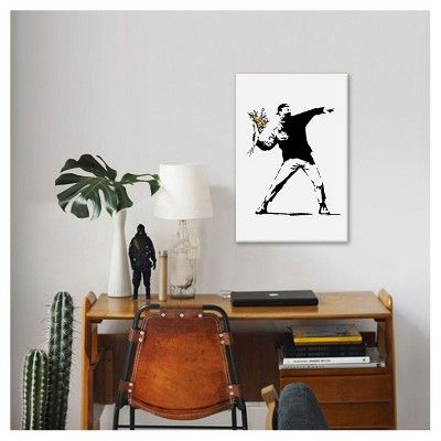 "Rage Flower Thrower by Banksy Canvas Print (26""x 18""), Pink Purple Yellow Black"