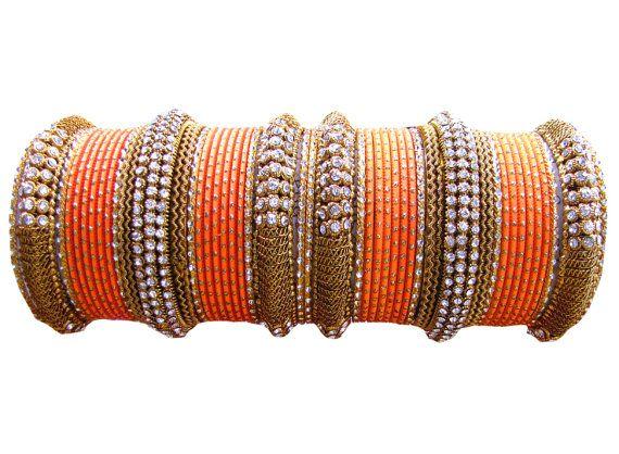 #Orange Color #Designer #Bangles Indian #Bracelet Set  by Shoppingover