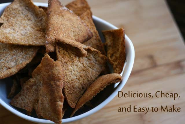Delicious use for leftover pita bread. Homemade pita chips recipe:    http://www.cheaprecipeblog.com/2011/11/homemade-pita-chips-recipe/